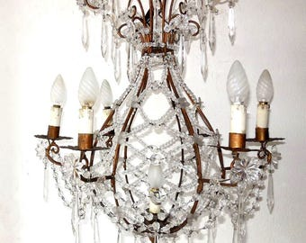 Italian antique style basket chandelier, wrought iron and glass drops and swags made to order