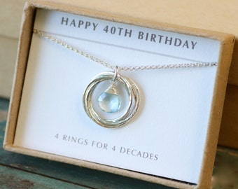 40th birthday gift for her, December birthstone necklace, blue topaz jewelry for wife gift for birthday - Lilia