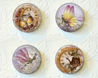 Steampunk Butterfly, Dragonfly, Clocks and Roses Magnet Set Choose from 2 Different Prints Buy 3 Sets Get 1 Set Free 491M