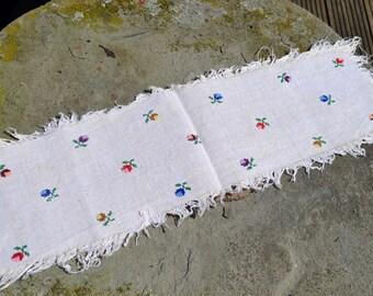 Vintage textile Romanian woven hemp linen cloth hand embroidered rustic Transylvania