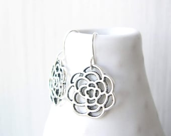 Flower Dangle Earrings, Modern Jewelry, Bridesmaid Gift, Mum, Chrysanthemum, Silver, Simple, Drop, Wedding Accessory, Contemporary, Metal
