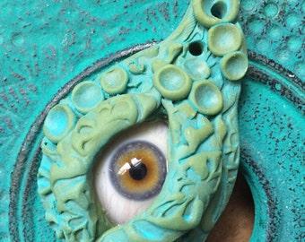 Sea Goddess Hazel Evil Eye Pendant of Protection 100 Year Old Antique Glass Eye