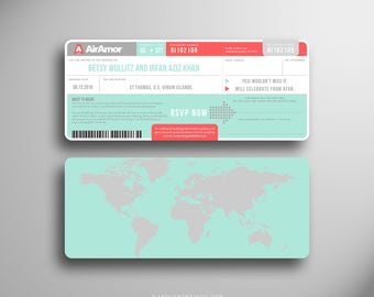 BETSY Traversing Continents Modern Boarding Pass/ Airline Ticket Invitation