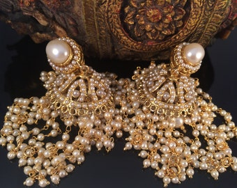 Gold Jhumka earringsChandelier Earring Long Earrings Bridal
