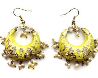 Yellow Earrings,Indian Jewelry,Gold earrings,Chand Bali,Lac earrings,Jhumka Earrings,Vintage, lac jewellery,Rajasthani earrings by Taneesi