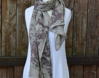 Linen cotton scarf, summer scarf, bordeaux scarf, eco print, hand dyed scarves, OOAK scarf