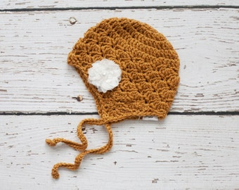Mustard Baby Earflap Hat with White Flower, Crochet Hat for Baby Girl, Earflap Hat, 3 to 6 Months, READY TO SHIP