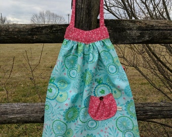 Girls Retro Apron Girls Flower Apron Toddler Girls Apron Kids Apron Sea Foam Green Flowers Art Smock Handmade 4T-6
