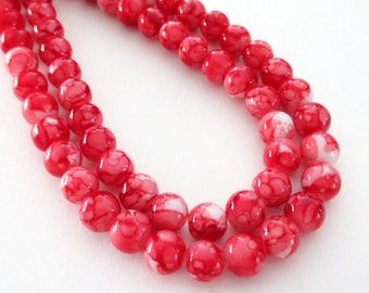 """Red White Marbled Porcelain Beads - Smooth Round Porcelain Beads - Drilled Stone Beads - 8mm - 13"""" Strand - Diy Christmas Jewelry Beading"""