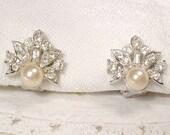 Vintage Art Deco Ivory Pearl & Pave Rhinestone Stud Bridal Earrings, 1920s Silver Clip On Back Wedding Earrings Dainty Flapper Jewelry