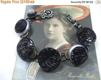 SALE 50% OFF Vintage Beautiful Unique Hand Made Black Czech  Glass Vintage Button and Bead Bracelet--One of a Kind