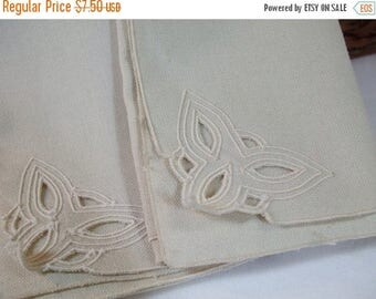 SALE 50% OFF Vintage Embroidered Cut Out  Cream Napkins Set of two