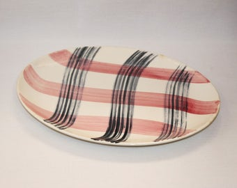 Stetson Scots Clan Pink Charcoal Oval Serving Platter (109-2)