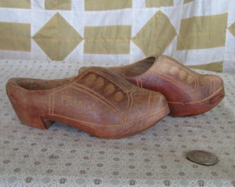 Vintage Antique Shoes Wooden Dutch Clogs Shoes, French Vintage Shoes, Holland, Carved Mini Decor France