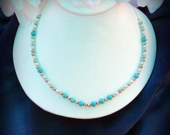Delicate turquoise and freshwater pearl necklace