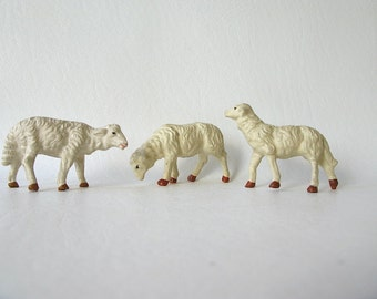 Vintage Plaster Lambs, Sheep, crèche, manger, Christmas, italy,resin