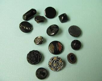 23 Vintage Glass Buttons Black, Mix, Fancy, Instant collection
