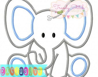 Baby Elephant Applique Design Machine Embroidery Design INSTANT DOWNLOAD