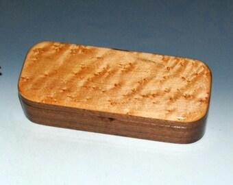 Handmade Wooden Pen or Special Gift Presentation Box - Walnut with Birdseye Maple - Small Wood Box, Wood Box, Jewelry Box, Wooden Box, Boxes