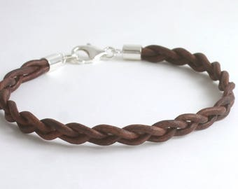 Sterling Silver Braided Leather Bracelet/Anklet/Ankle,3rd Anniversary,Wedding Gift, Men/Women/Him/His/Her-Black,Brown,Red,Metallic Pearl