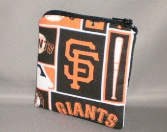 Coin Purse - Gift Card Holder - Card Case -Small Padded Zippered Pouch - Mini Wallet - Baseball - San Francisco Giants