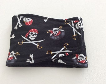 Absorbent, Waterproof,  Washable, Reusable Belly Band - Male Dog Diaper - Pirate Skulls -  Available in all Sizes