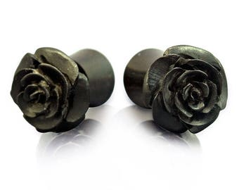 Fake Plugs Hand Carved from Black Iron Wood - Rose Faux Plugs Wood Earrings