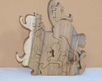 Cat Puzzle - Pile of Cats - Wooden Cat Decor - Home or Office Animal Decor
