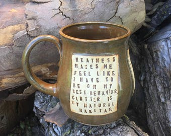 Large Mug-Scorpio Races-Maggie Stiefvater-Brown-Pottery Handmade by Daisy Friesen