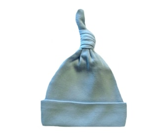 Light Blue Knotted Baby Hat. 100% Cotton Knit. Double Thick with a Built in Cap to Stay on Baby's Head. 7 Preemie, Newborn and Toddler Sizes