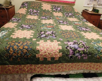 Handmade,Beatuiful, Colorful Flowered Puzzle Quilt, handcrafted, custom made, unique, American, Lilac Flowers, yellow, green, roses, folage