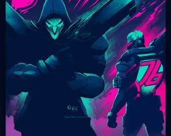 OVERWATCH DOGS of WAR - Soldier: 76 and Reaper - Video Game Poster Art