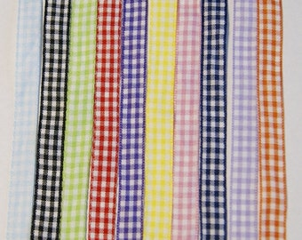 10 Yards Gingham Ribbon 3/8 inch, 1 yard each Mixed Colors, Destash, Scrapbook - Fun (#2)