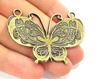 2 Antique Bronze Butterfly Pendant   (69x41mm) G6394