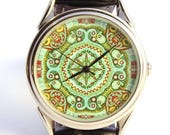 ON SALE 30% OFF Watch pattern, ladies watch, women watch green turquoise