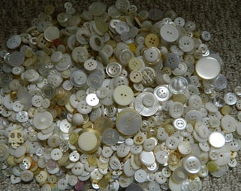1000+ White Button Lot / Vintage Assorted Bag White Grey Beige Buttons for sewing, Crafts, Mixed Media, Altered Art, Journals, etc.