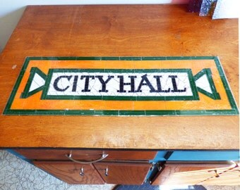 NYC Subway Mosaic Glass Install or Sign - City Hall