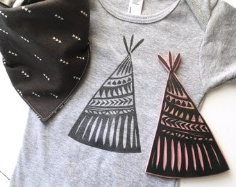 Tepee Boho Baby Clothing, Infant Bodysuit, One Piece, Hand Printed, Gender Neutral Shower Gift, Black and Gray Nursery, Wild and Free