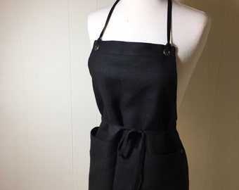 Linen Apron Full Woman Short Mini Apron Black European Linen