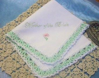 Mother of the Bride Handkerchief, Hanky, Hankie, Mom, Mother, Hand Crochet, Lace, Ladies, Mint Green, Personalized, Embroider, Ready to ship
