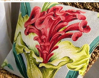 """FAB SALE Tropical Floral Vintage Barkcloth Pillow Cover - 17"""" x 17"""" - Fuschia, Pinks, Teal, Lime, Citrine Green on Grey"""