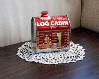 Log Cabin Syrup Tin, Vintage Advertising, 100th Anniversary Tin, Kitchen, Dining Collectible, Country Chic  Home Decor
