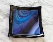 "Purple swirls coin keeper fused glass bowl dish blackberry cream Spectrum over black 5"" multi-use key keeper jewelry bowl soap dish"