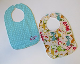 Gift for baby -Colorful bunnies small white dots | Handmade bib - burp cloth personalized with name embroidered - baby shower pastel colors