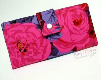 Handmade women wallet clutch - large bright pink roses- ID clear pocket - Ready to ship - red floral  - gift ideas for her