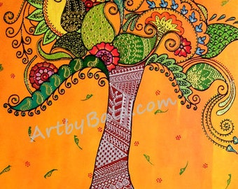 Tree of Life - Limited Edition Print of textured Henna Style Painting