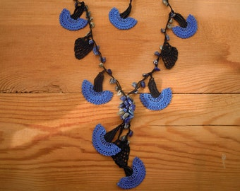 crochet necklace, blue carnation, black leaves, turkish oya