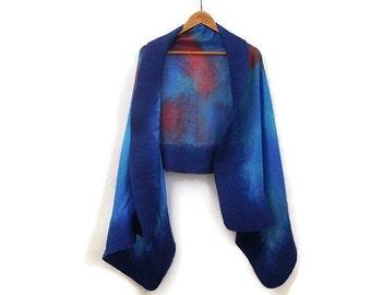 blue red shawl, felted silk shawl, handdyed silk shawl