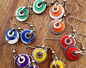 A pair of coloured Washer Earrings, Recycled Plastic, Red, Orange, Green, Yellow, Purple or Blue