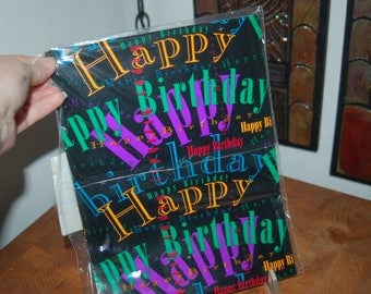 "New in Seal Packaging ~ American Greetings Happy ""Font"" Words Happy Birthday Wrapping Paper ~ NOS Happy Birthday Gift Paper ~ 30"" * 1.1 yds"